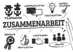 Zusammenarbeit Konzept. Chart mit Wörtern und gezeichneten Piktogrammen